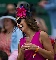LOUISVILLE, KY - MAY 04: A woman enjoys a drink on Kentucky Oaks Day at Churchill Downs on May 4, 2018 in Louisville, Kentucky. (Photo by Eric Patterson/Eclipse Sportswire/Getty Images)