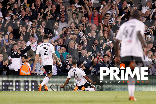 GOAL - Denis Odoi of Fulham makes it 2-1 on aggregate during the Sky Bet Championship play off semi final 2nd leg match between Fulham and Derby County at Craven Cottage, London, England on 15 May 2018. Photo by Carlton Myrie / PRiME Media Images.