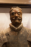 "Standing warrior at the ""Terra Cotta Warriors: The Emperor's Painted Army,"" Exhibit directly from Xian in the Shaanxi Province, China which debuted in 2014 at the Children's Museum, Indianapolis, Indiana, USA"