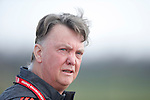 Louis Van Gaal, manager of Manchester United during the UEFA Europa League training at the AON Carrington training complex. Photo credit should read: Philip Oldham/Sportimage
