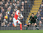 Arsenal's Aaron Ramsey scoring his sides opening goal<br /> <br /> - English Premier League - Tottenham Hotspur vs Arsenal  - White Hart Lane - London - England - 5th March 2016 - Pic David Klein/Sportimage