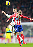 Atletico de Madrid's Kevin Gameiro (r) and Real Madrid CF's Carlos Henrique Casemiro during La Liga match. November 18,2017. (ALTERPHOTOS/Acero)
