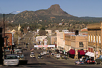 View of downtown business district (Sheldon St.) of Prescott, AZ and Thumb Butte. Prescott Arizona USA Lake Superior.