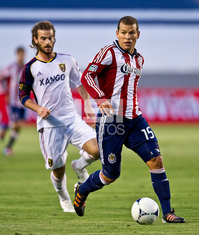 CARSON, CA - June 16, 2012: Chivas USA midfielder Alejandro Moreno (17) during the Chivas USA vs Real Salt Lake match at the Home Depot Center in Carson, California. Final score Real Salt Lake 3, Chivas USA 0.