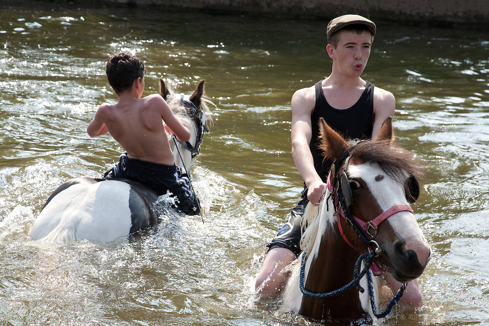 Young Boy Riding A Horse Bareback Stock Photo - Download