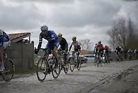 Tom Boonen (BEL/Etixx-QuickStep) over the Paddenstraat cobbles<br /> <br /> E3 - Harelbeke 2016