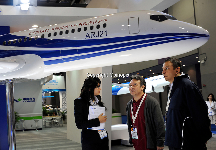 ARJ21 regional jet at Asian Aerospace 2011 held in Hong Kong's Asia World Expo., Hong Kong, China, is being developed by the AVIC I Commercial Aircraft Company (ACAC), based in Shanghai. Asian Aerospace is the world's largest single-focused exhibition and congress for the commercial aerospace and civil aviation market with particular emphasis on the Asia-Pacific region. This year a record of 270 exhibitors from 32 countries, and the number of Chinese companies increased by 42% comparing to last year..09 Mar 2011