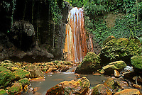 731400019 tranquil diamond falls flows into a small pool surrounded by lush vegetation and moss covered rocks on a private estate on saint lucia in the caribbean