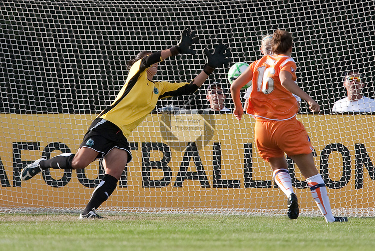 August 19 2009           Athletica goalkeeper Hope Solo (left) leaps to successfully block a point-blank shot on goal by Sky Blue FC player Kerri Hanks (16, right) early in the first half.   The St. Louis Athletica of the Women's Professional Soccer league hosted the Sky Blue FC on Wednesday August 19, 2009 in the Super Semifinal playoff game at the Anheuser Busch Soccer Park in Fenton, Missouri.   Sky Blue FC won, 1-0 and advance to play the LA Sol in the WPS Championship game on August 22, 2009...            *******EDITORIAL USE ONLY*******