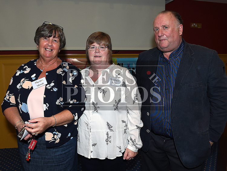 Marion Woods, Siobhan Kerr and Sean Dunne at the Ardee CS Leaving Cert Class of 1976 reunion in Ardee Golf Club. . Photo:Colin Bell/pressphotos.ie