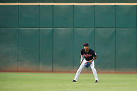 AZL Indians center fielder Quentin Holmes (70) on defense against the AZL Rangers on August 26, 2017 at Goodyear Ball Park in Goodyear, Arizona. AZL Indians defeated the AZL Rangers 5-3. (Zachary Lucy/Four Seam Images)