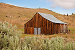 Weathered, wooden barn near Clarno, Ore.