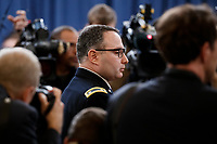 Director for European Affairs of the National Security Council, US Army Lieutenant Colonel Alexander Vindman prior to testifying during the House Permanent Select Committee on Intelligence public hearing on the impeachment inquiry into US President Donald J. Trump, on Capitol Hill in Washington, DC, USA, 19 November 2019. The impeachment inquiry is being led by three congressional committees and was launched following a whistleblower's complaint that alleges US President Donald J. Trump requested help from the President of Ukraine to investigate a political rival, Joe Biden and his son Hunter Biden.<br /> Credit: Shawn Thew / Pool via CNP/AdMedia