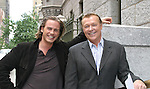 """One Life To Live's Forbes March """"Nash"""" and Jerry verDorn """"Clint Buchanan"""" take a break outside the OLTL studio on 9-21-06. (Photo by Sue Coflin/Max Photos)"""