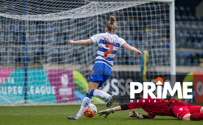 Emma Follis of Reading Women scores her goal during the Women's FA Cup match between Reading Women and Millwall Lionesses at Adams Park, High Wycombe, England on 20 March 2016. Photo by Andy Rowland.