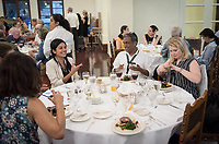"Food conference attendees at the banquet, featuring the bounty of California, particularly foods found along the John Muir Trail. Branca Patio and Gresham Dining Hall, Johnson Student Center.<br /> Occidental College hosts the Oxy Food Conference, an annual meeting and conference for the Agriculture, Food and Human Values Society (AFHVS)/Association for the Study of Food and Society (ASFS). The event ran from June 14-17, 2017 and was organized by Oxy associate professor of sociology John Lang. This was the first time Oxy hosted this conference.<br /> More than 500 food scholars converged for one of the discipline's largest international conferences and the chance to discuss everything from sustainable agricultural and fisheries practices to the cultural significance of Basque-American ""picon punch.""<br /> (Photo by Marc Campos, Occidental College Photographer)"