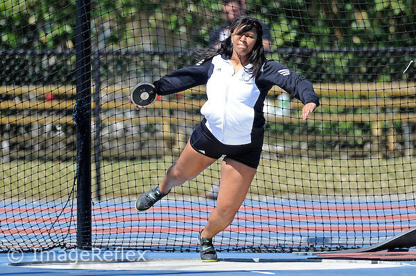 14 March 2013:  FIU's Alysha Lewis competes in the discus throw at the FIU Felsberg Invitational track meet at the Ansin Sports Complex in Miramar, Florida.