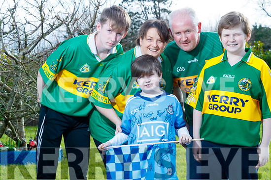 Sean Kearney pictured in his Dublin football jersey with his family: From left: Michael,Sean Treacy, John and Jack Kearney.