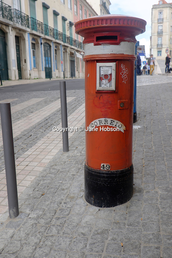 Lisbon, Portugal. 21.03.2015. Red post box, Lisbon, Portugal. © Jane Hobson.