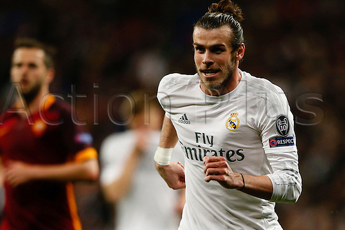 08.03.2016 Estadio Santiago Bernabeu, Madrid, Spain. UEFA Champions League Real Madrid CF versus AS Roma.  Gareth Bale (11) Real Madrid turns away on celebration as he scores a goal.