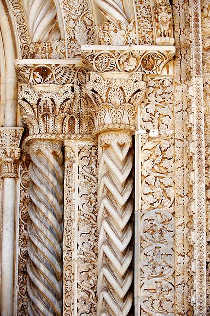 Gothic Catalan style columns ( 1430) by  Antonio Gambara, Palermo Cathedral, Sicily