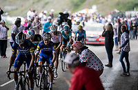 Julian Alaphilippe (FRA/Deceuninck - Quick-Step) 2 km from the finish in Val thorens<br /> <br /> shortened stage 20: Albertville to Val Thorens (59km in stead of the original 130km due to landslides/bad weather)<br /> 106th Tour de France 2019 (2.UWT)<br /> <br /> ©kramon