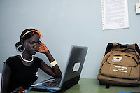 SOUTH SUDAN  Bahr al Ghazal region , Lakes State, village Mapourdit, young Dinka woman, Rachael Ayen Mayor doing a training at Radio Good News / SUED-SUDAN  Bahr el Ghazal region , Lakes State, Dorf Mapourdit , Rachael Ayen Mayor macht ein Praktikum bei Radio Good News