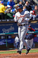 Detroit catcher Ivan Rodriguez homers against the Royals at Kauffman Stadium in Kansas City, Missouri on April 7, 2007.  The Tigers won 6-5.