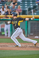 Taylor Ward (3) of the Salt Lake Bees bats against the Memphis Redbirds at Smith's Ballpark on July 24, 2018 in Salt Lake City, Utah. Memphis defeated Salt Lake 14-4. (Stephen Smith/Four Seam Images)
