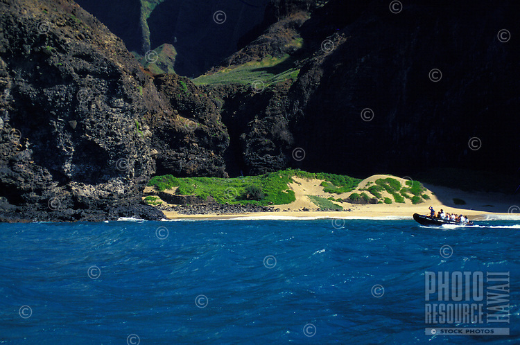Zodiac cruising along the na Pali costline on Kauai's rugged north coast