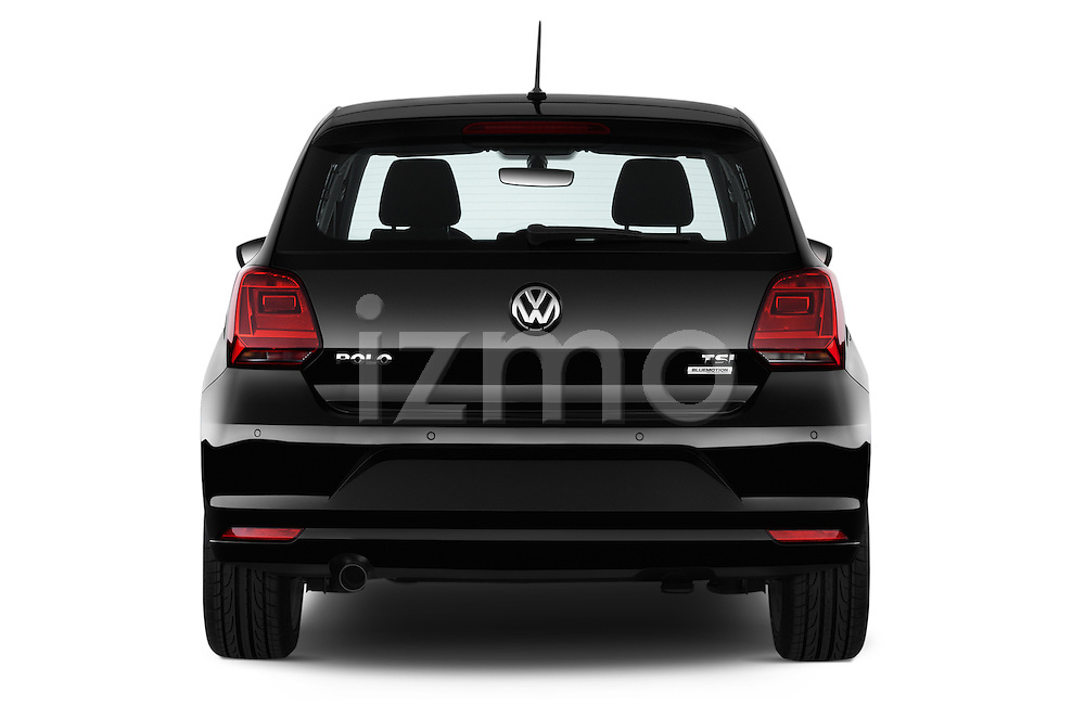 Straight rear view of a 2014 Volkswagen POLO SPORTLINE 5 Door Hatchback 2WD Rear View  stock images