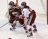 Dru Burns (BC - 7), Jillian Dempsey (Harvard - 14) - The Boston College Eagles defeated the Harvard University Crimson 2-1 in the opening game of the 2013 Beanpot on Tuesday, February 5, 2013, at Matthews Arena in Boston, Massachusetts.