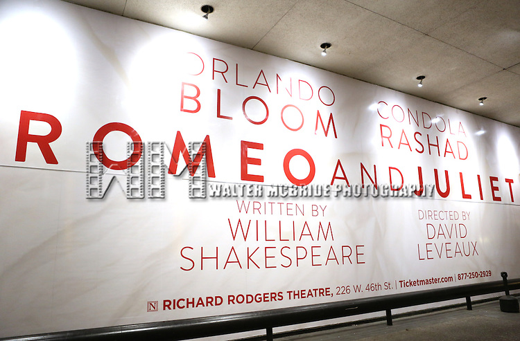 """Theatre Marquee Billboard for """"Romeo And Juliet"""" On Broadway First Performance Curtain Call at the Richard Rodgers Theatre in New York City on 8/24/2013"""
