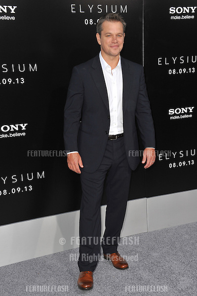 Matt Damon at the world premiere of his movie &quot;Elysium&quot; at the Regency Village Theatre, Westwood.<br /> August 7, 2013  Los Angeles, CA<br /> Picture: Paul Smith / Featureflash