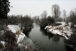 Colville River on a foggy cold winter day.