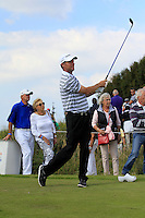 Anders Hansen (DEN) on the 4th tee during Round 2 of the KLM Open at Kennemer Golf &amp; Country Club on Friday 12th September 2014.<br /> Picture:  Thos Caffrey / www.golffile