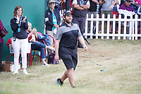 Steven Brown caddy Sam Matton during the presentation ceremony for the winner of the Portugal Masters 2019, Dom Pedro Victoria Golf Course, Vilamoura, Vilamoura, Portugal. 27/10/2019<br /> Picture Andy Crook / Golffile.ie<br /> <br /> All photo usage must carry mandatory copyright credit (© Golffile | Andy Crook)