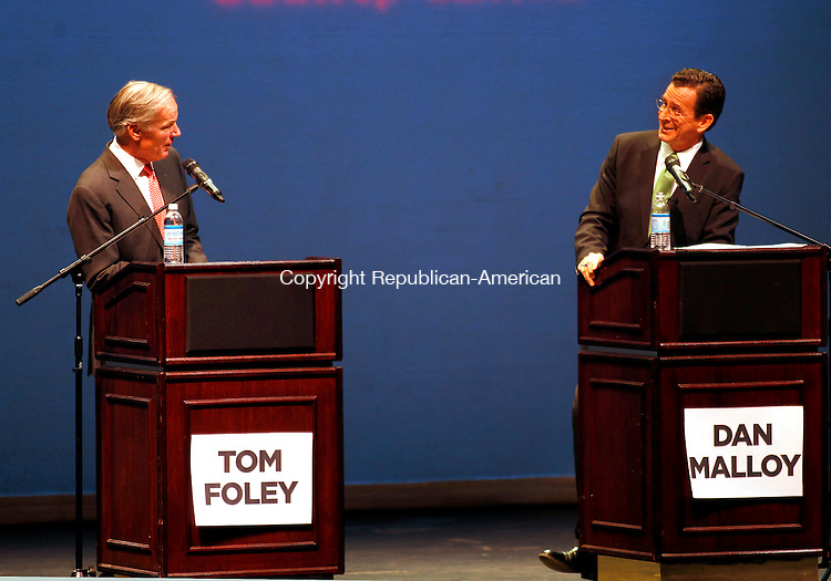 Torrington, CT- 25, October 2010-102510CM12 Republican Governor candidate Tom Foley (left) and Democratic candidate, Dan Malloy  face off during a gubernatorial debate inside the Warner Theater in downtown Torrington Monday night.  The event was moderated by Republican-American Executive Editor, Jonathan Kellogg and was sponsored by the Republican-American newspaper.   Christopher Massa Republican-American