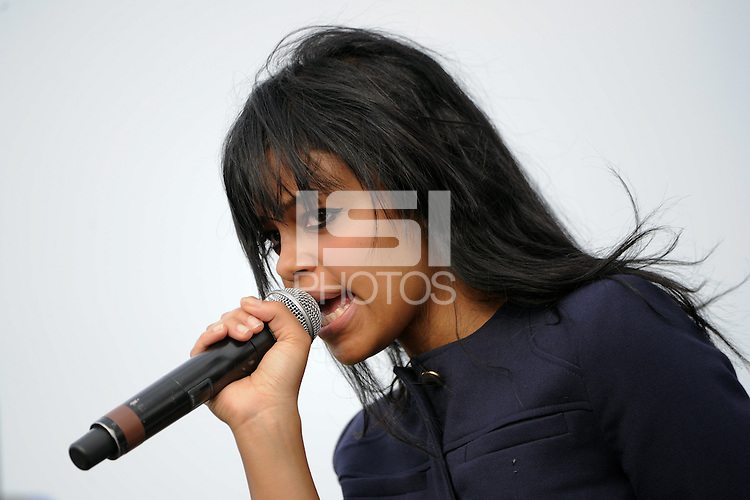 FeFe Dobson performs during halftime. The Western New York Flash defeated the Philadelphia Independence 5-4 in a penalty kick shootout after playing to a 1-1 tie during the Women's Professional Soccer (WPS) Championship presented by Citi at Sahlen's Stadium in Rochester NY, on August 27, 2011.