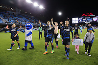 San Jose, CA - Saturday April 08, 2017: Chris Wondolowski, Darwin Ceren salutes the fans after a Major League Soccer (MLS) match between the San Jose Earthquakes and the Seattle Sounders FC at Avaya Stadium.