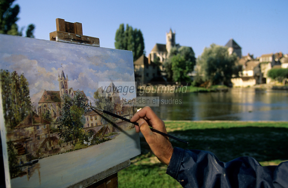 Europe/France/Ile-de-France/77/Seine-et-Marne/Moret-sur-Moing: Peintre sur les rives du Loing (site classée) - Sur la route des peintres