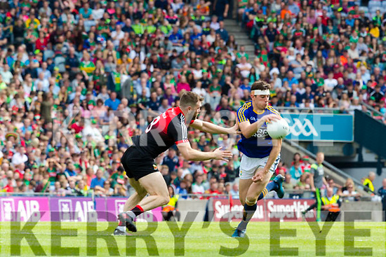 David Moran Kerry in action against Seamus O'Shea Mayo in the All Ireland Semi Final Replay in Croke Park on Saturday.