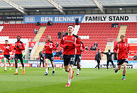 Ashley Hunter of Fleetwood Town warming up with his team mates before the Sky Bet League 1 match between Rotherham United and Fleetwood Town at the New York Stadium, Rotherham, England on 7 April 2018. Photo by Leila Coker.