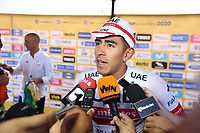 TUNJA - COLOMBIA, 13-02-2020:  Juan Sebastian Molano Benavides (COL) UAE TEAM EMIRATES, habla con la prensa tras ganar la tercera etapa del Tour Colombia 2.1 2020 con un recorrido de 177,7 km que se corrió entre Paipa y Sogamoso, Boyacá. /  Juan Sebastian Molano Benavides (COL) UAE TEAM EMIRATES, talk with the press after winning the third stage of 177,7 km as part of Tour Colombia 2.1 2020 that ran between Paipa and Sogamoso, Boyaca.  Photo: VizzorImage / Darlin Bejarano / Cont