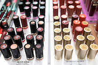 An assortment of Lancome lipsticks is seen on a shelf at a Jean Coutu Pharmacy in Quebec city March 4, 2009.