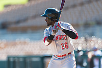 Scottsdale Scorpions left fielder Taylor Trammell (26), of the Cincinnati Reds organization, at bat during an Arizona Fall League game against the Glendale Desert Dogs at Camelback Ranch on October 16, 2018 in Glendale, Arizona. Scottsdale defeated Glendale 6-1. (Zachary Lucy/Four Seam Images)