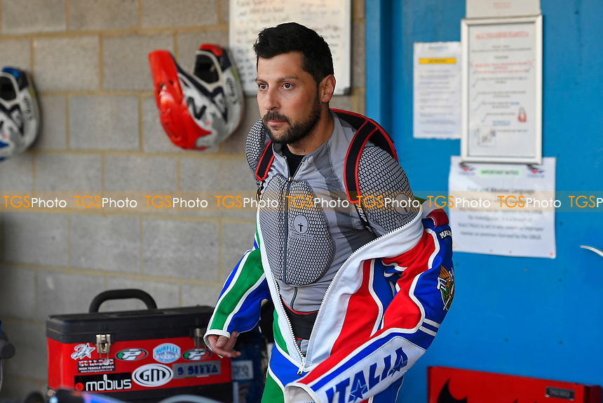 Nicolas Covatti of Poole Pirates puts on his race suit during Poole Pirates vs King's Lynn Stars, SGB Premiership Shield Speedway at The Stadium on 11th April 2019