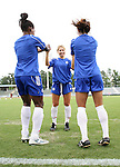 29 July 2006: Amanda Cicchini (CAN) (center) warms up with Charmaine Hooper (CAN) (l) and Aysha Jamani (CAN) (r). The Canada Women's National Team trained at SAS Stadium in Cary, North Carolina, in preparation for an International Friendly match against the United States to be played on Sunday, July 30.