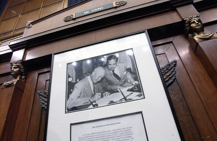 3/24/04.HIGHWAY REAUTHORIZATION--A picture of President Eisenhower signing the federal highways bill in 1956 hangs under the seat House Transportation and Infrastructure Chairman Don Young, R-Alaska..CONGRESSIONAL QUARTERLY PHOTO BY SCOTT J. FERRELL