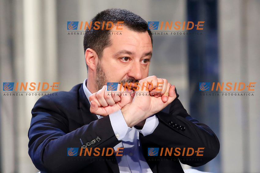 Matteo Salvini making the sing of handcuffs<br /> Rome January 10th 2019. The Italian Minister of Internal Affairs appears as a guest on the tv show Porta a Porta<br /> Foto Samantha Zucchi Insidefoto